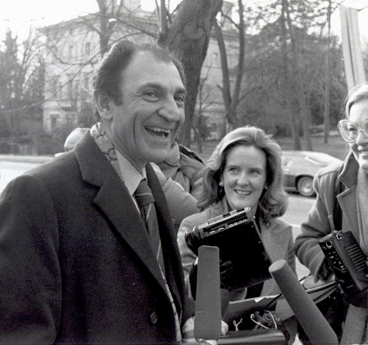 Ardeshir Zahedi outside the Iranian Embassy 1978